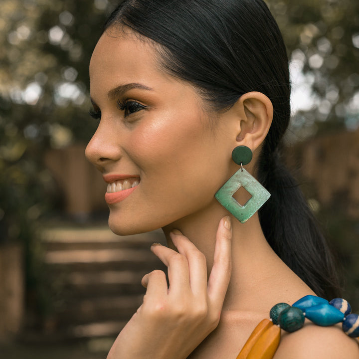 Bern Capiz Earrings in Olive Green - Island Girl
