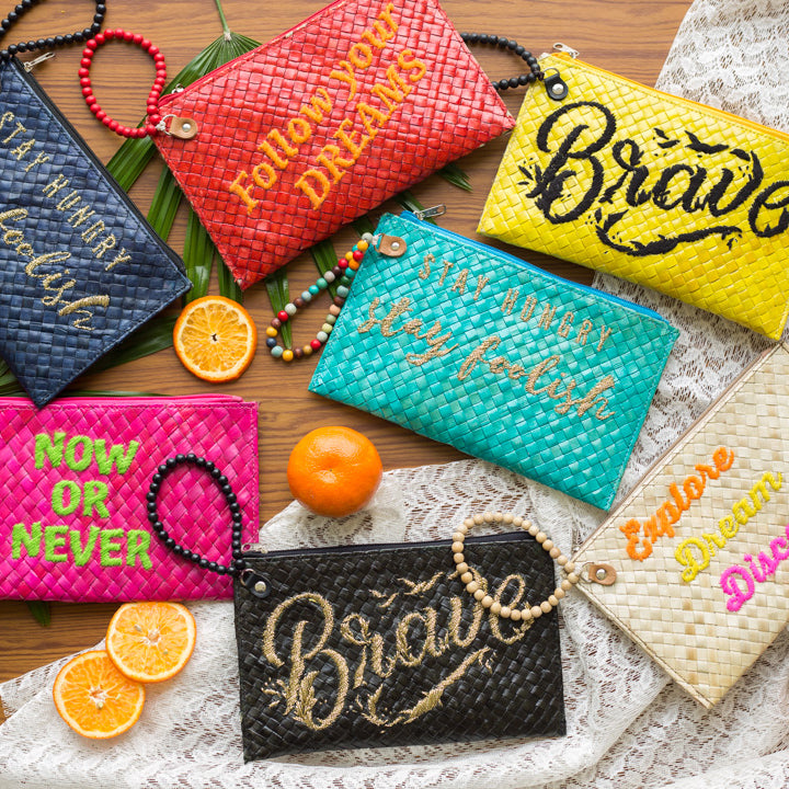 Quote Clutch: Brave in Yellow - Island Girl
