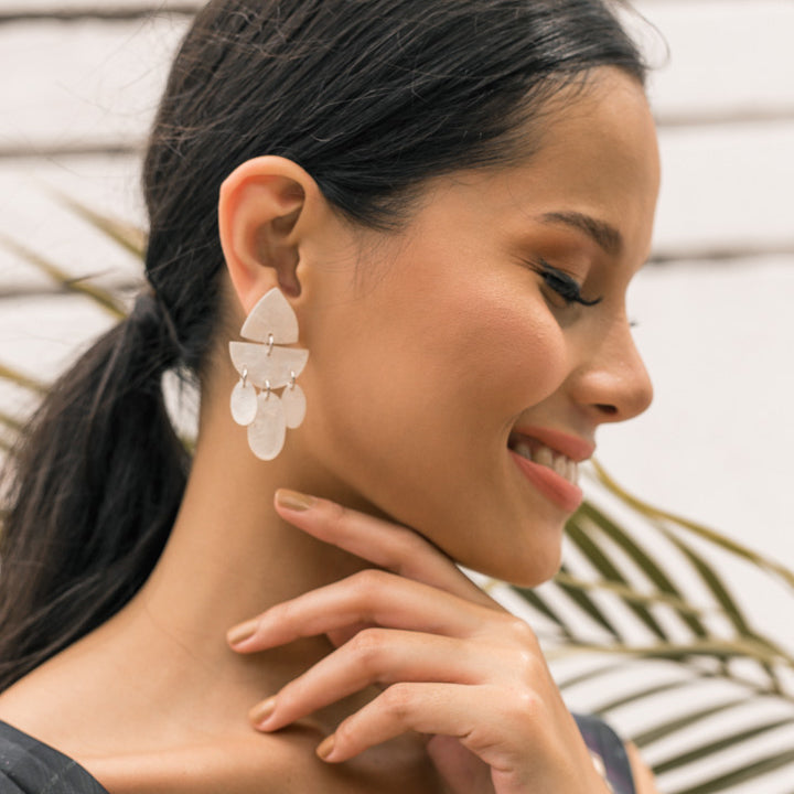 Solace Capiz Earrings in Natural - Island Girl
