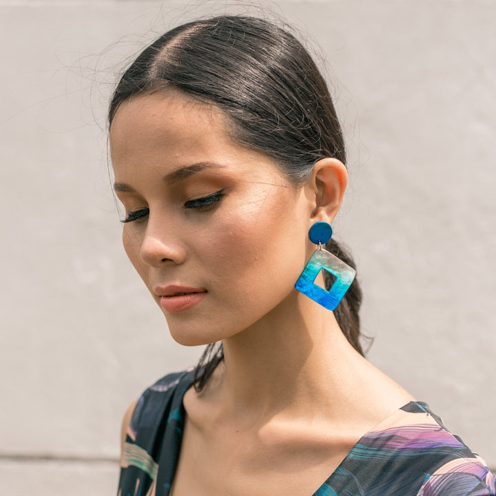 Bern Capiz Earrings in Princess Blue - Island Girl