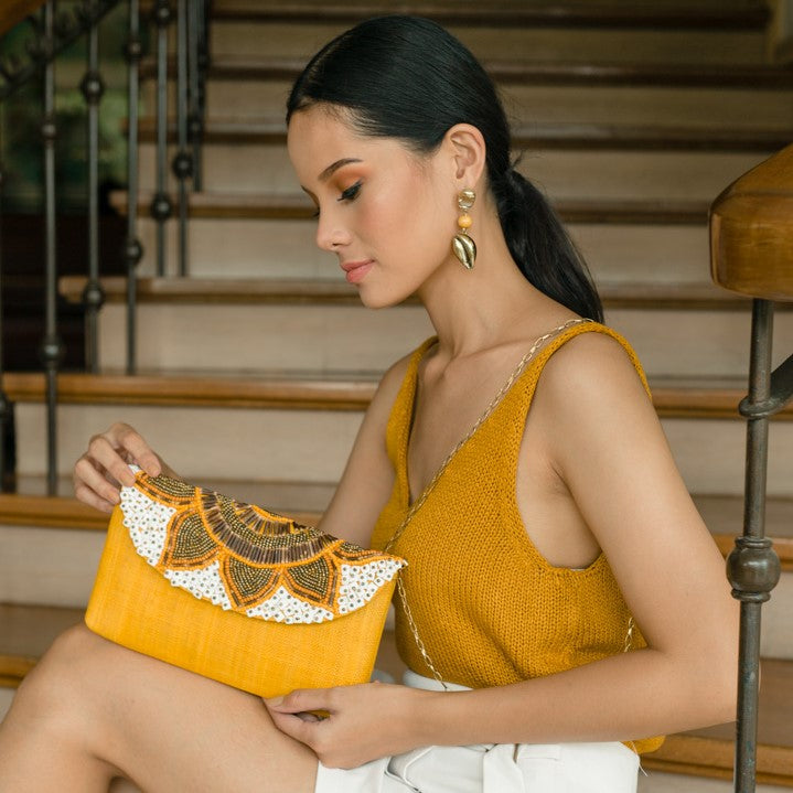 Sunflower Envelope Clutch in Yellow - Island Girl