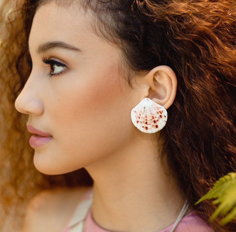 Mica Tiger Clam Shell Earrings - Island Girl