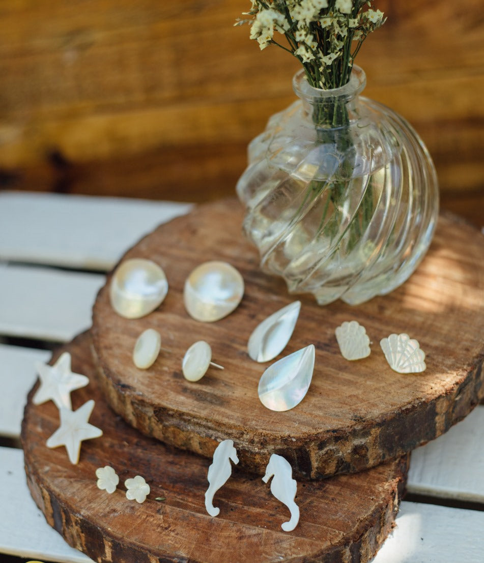 Belle Mother of Pearl Stud Earrings - Island Girl
