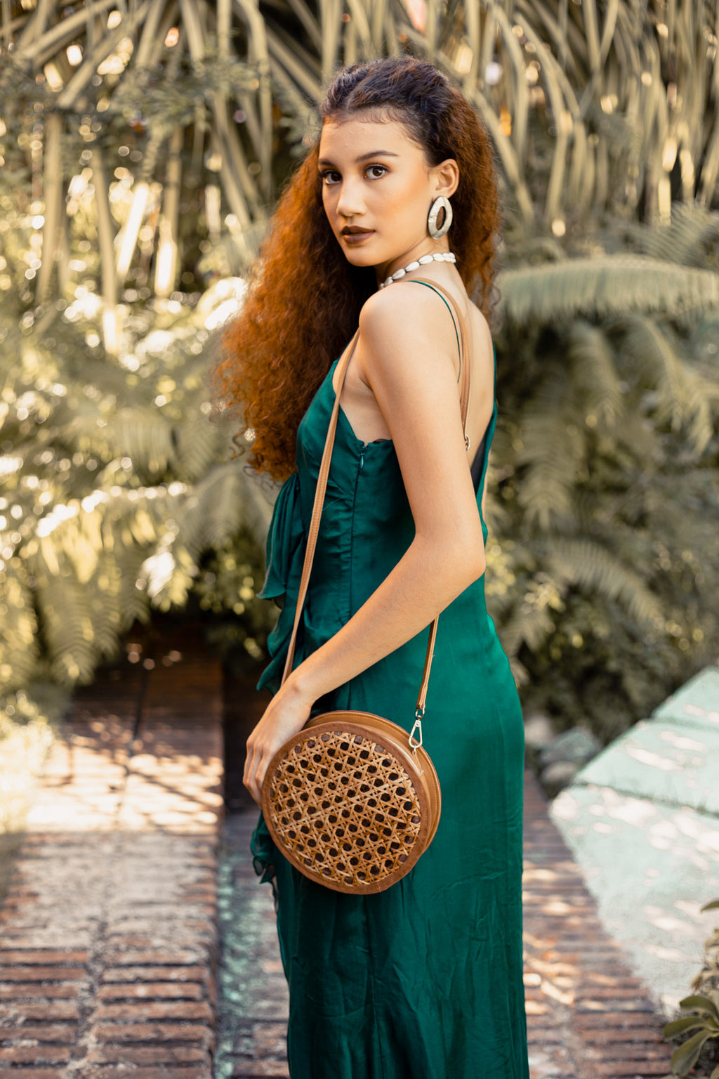 Maya Solihiya Round Bag in Brown - Island Girl