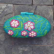 Load image into Gallery viewer, Embroidered Hard Clutch: Sage