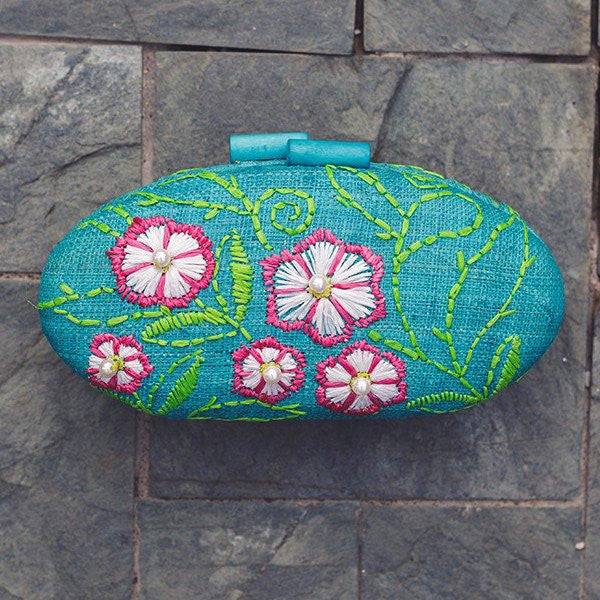 Sage Embroidered Hard Clutch - Island Girl