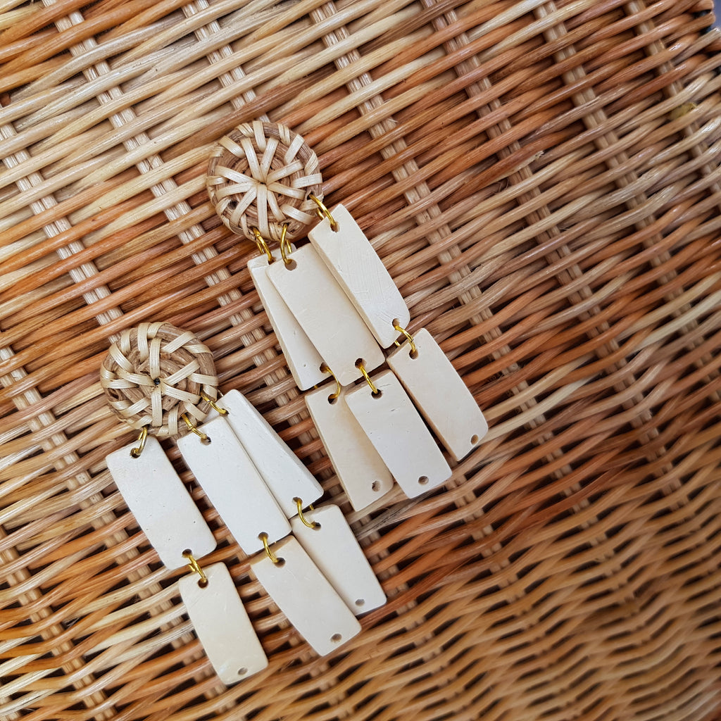 Leanna Earrings in White - Island Girl