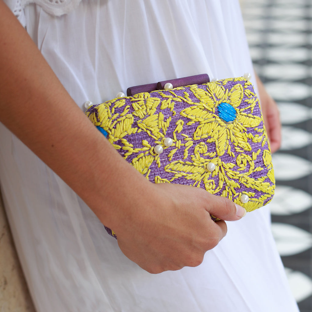 Embroidered Hard Clutch: Maggie