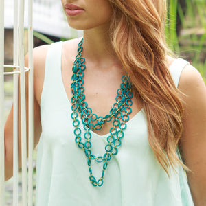 Mesh 4-Layer Necklace in Turquoise Blue - Island Girl