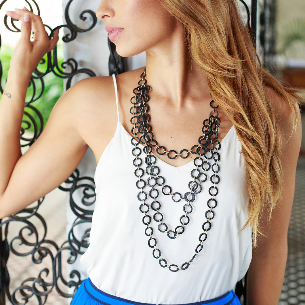 Mesh 4-Layer Necklace in Black - Island Girl
