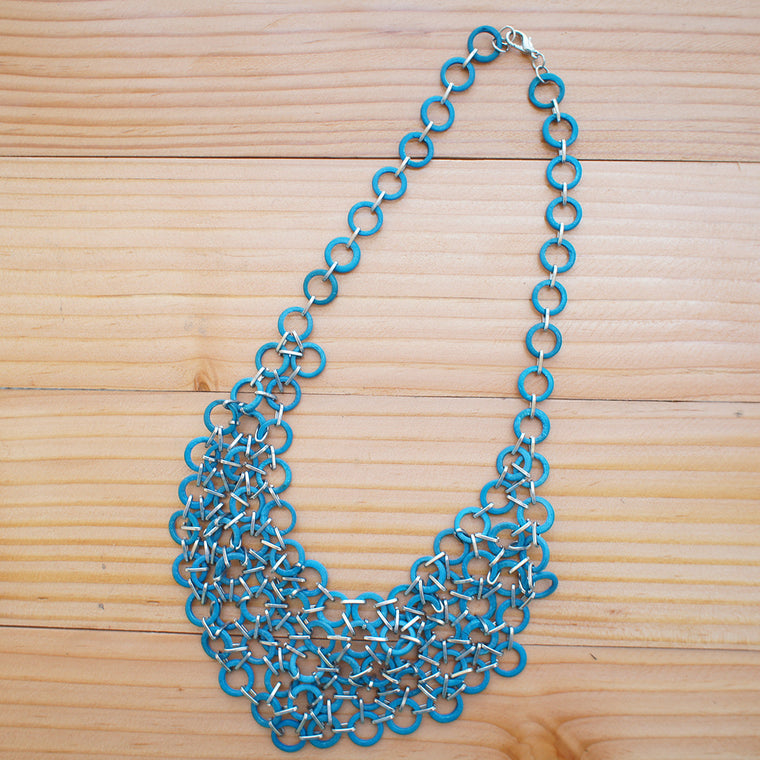 Mesh Bib Necklace in TURQUOISE BLUE
