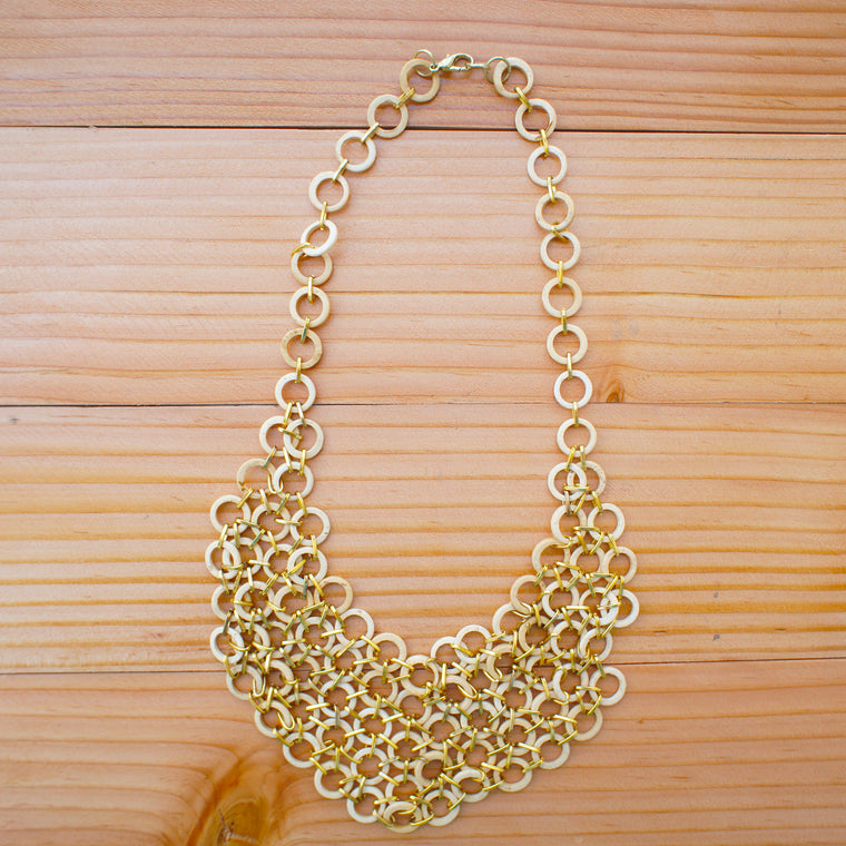 Mesh Bib Necklace in BLEACHED WHITE