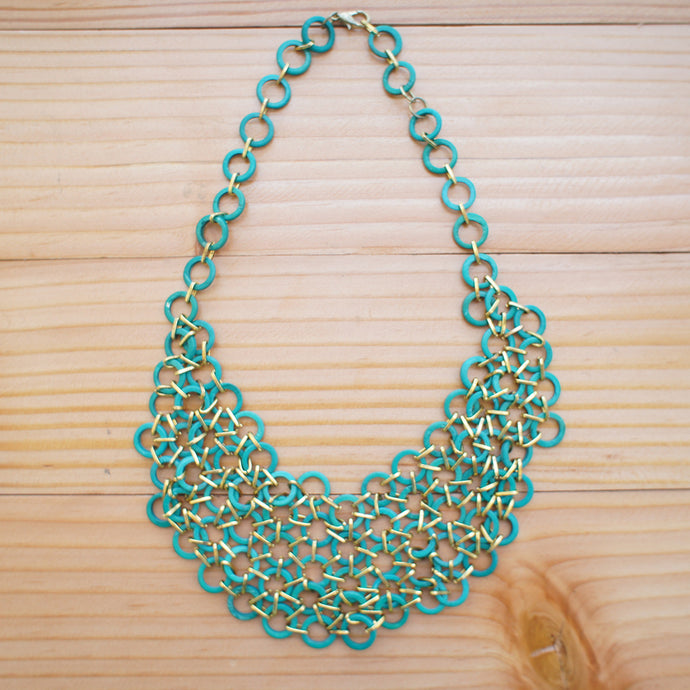 Mesh Bib Necklace in BLUE GREEN