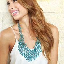 Load image into Gallery viewer, Mesh Bib Necklace in TURQUOISE BLUE - Island Girl