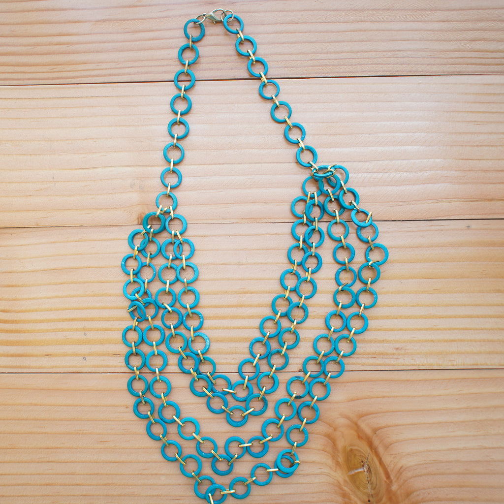 Mesh 4-Layer Necklace in Turquoise Blue