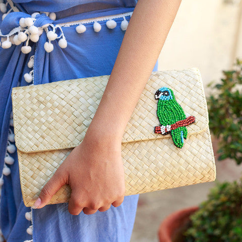 Applique Clutch Bag: Parrot