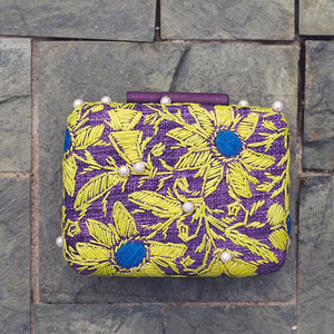 Embroidered Hard Clutch: Maggie - Island Girl