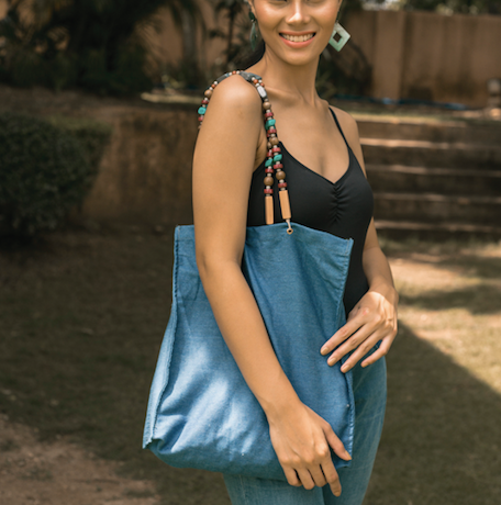 Foldable Denim Tote (Medium) - Island Girl