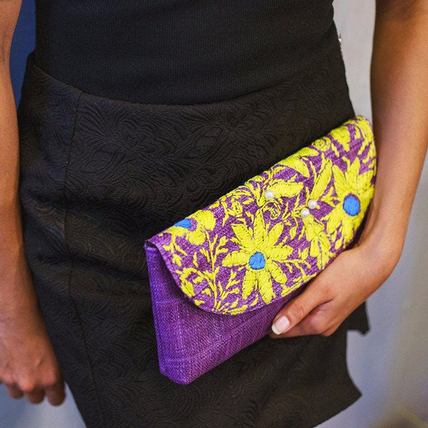 Embroidered Envelope Raffia Clutch: Shea