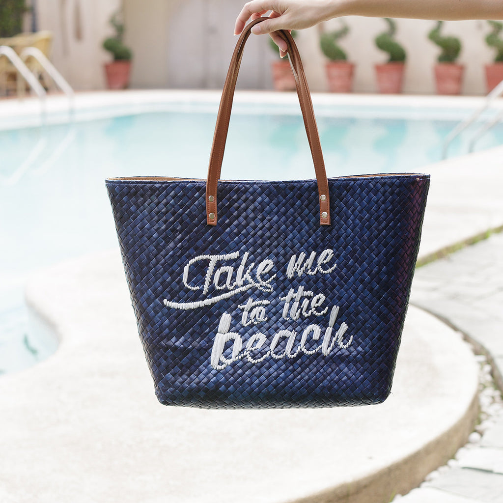 Take Me To The Beach Quote Tote - Island Girl