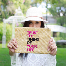 Load image into Gallery viewer, Quote Clutch: Trust the Timing of Your Life - Island Girl