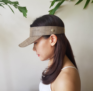 Raffia Visor + Face Shield (Brown) - Island Girl