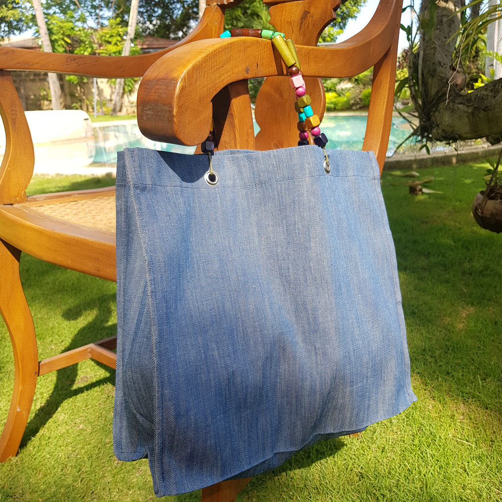 Foldable Denim Tote (Small) - Island Girl