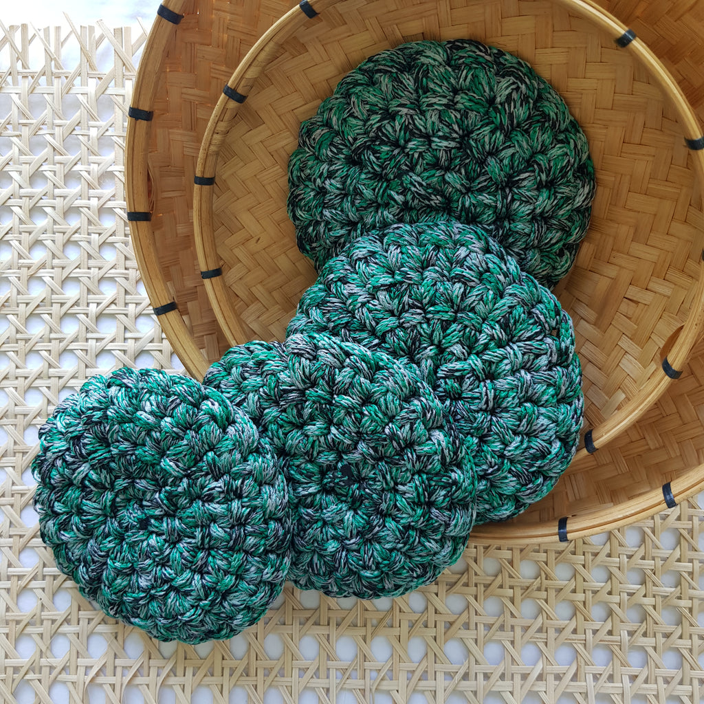 Swirl Macramé Coaster in Green (Set of 4) - Island Girl