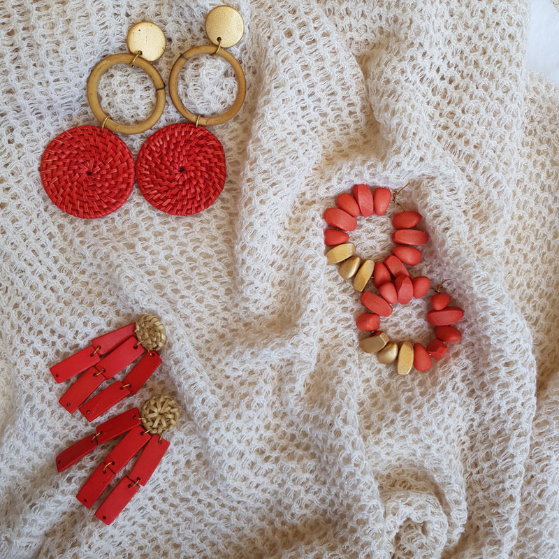 Brielle Earrings in Coral - Island Girl