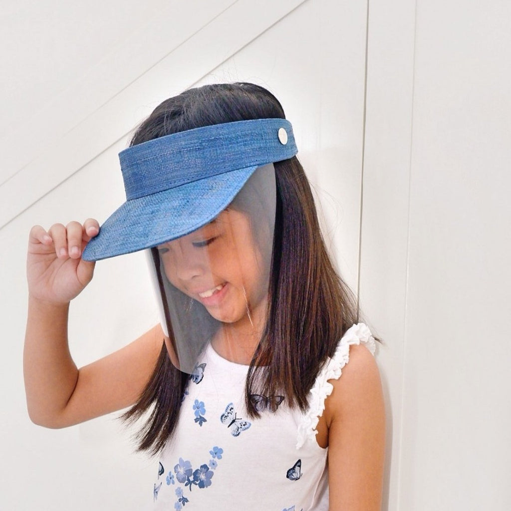 Kids Raffia Visor + Face Shield (Navy Blue) - Island Girl