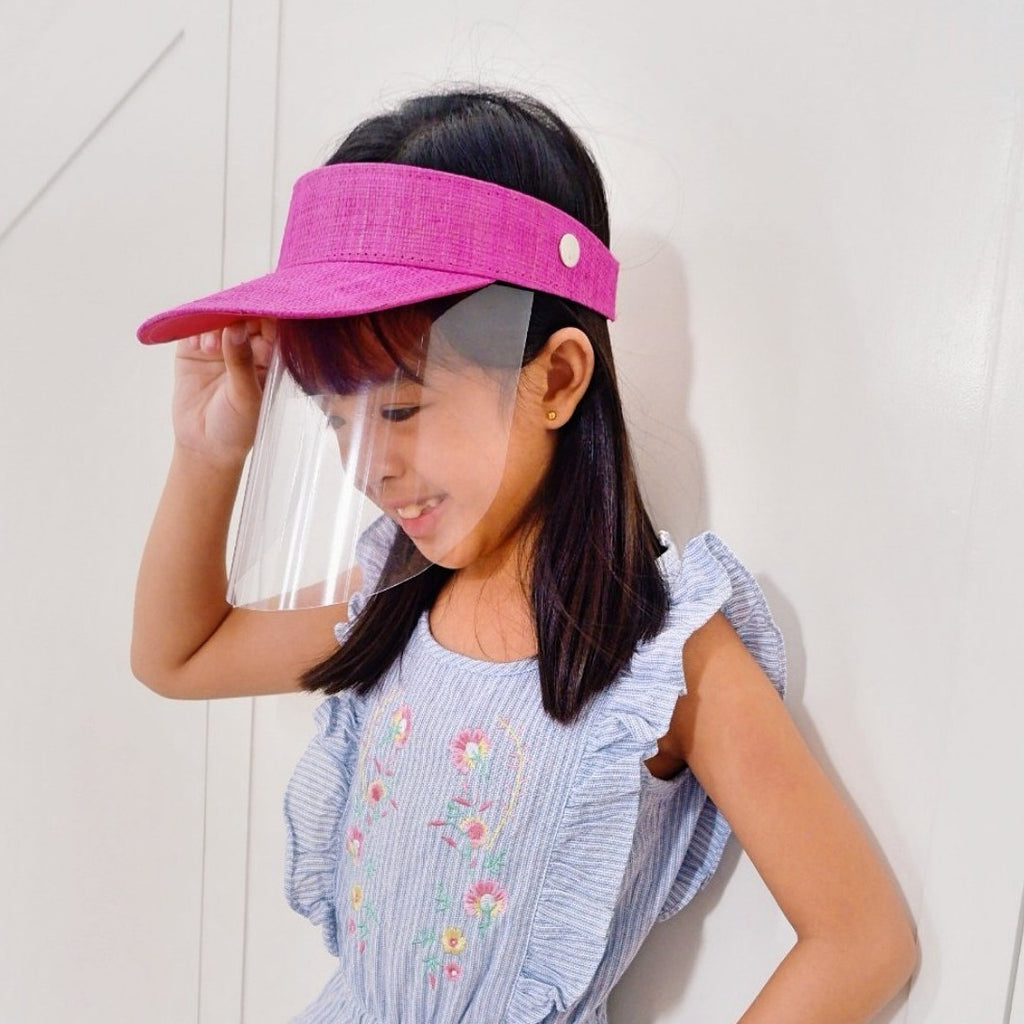 Kids Raffia Visor + Face Shield (Pink) - Island Girl
