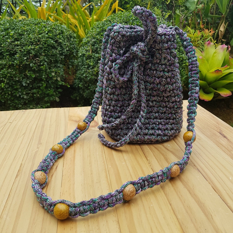 Elvira Macramé Mini Bucket Bag (Purple) - Island Girl
