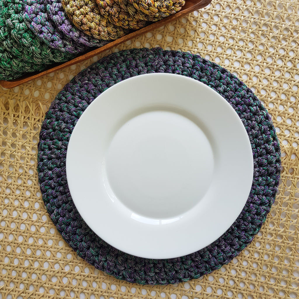 Swirl Macramé Placemats Purple (Set of 4) - Island Girl