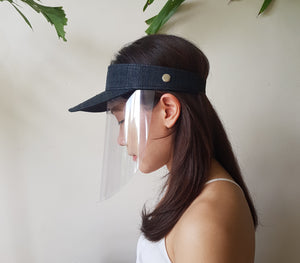 Raffia Visor + Face Shield (Black) - Island Girl