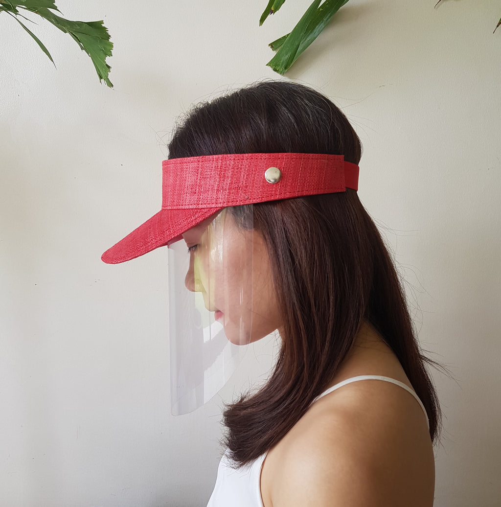 Raffia Visor + Face Shield (Red) - Island Girl