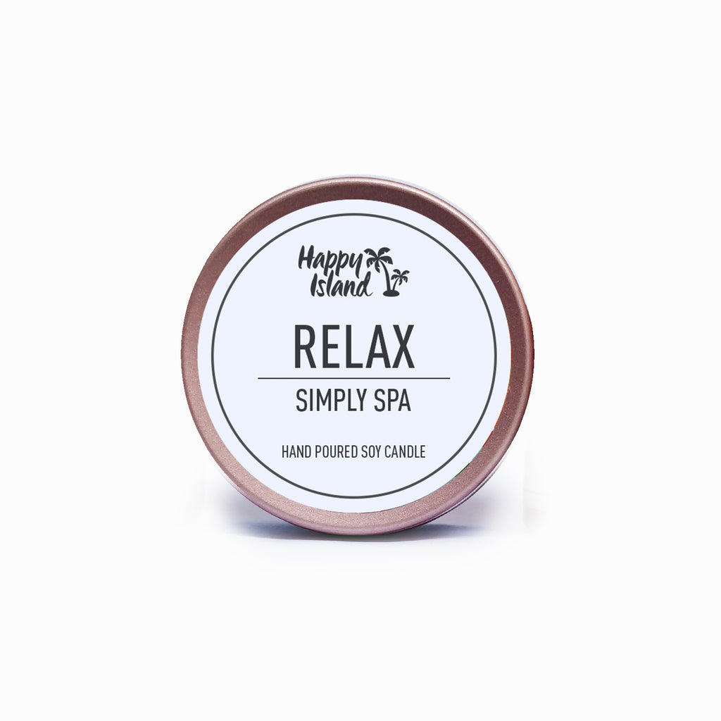 Happy Island Relax Simply Spa Soy Candle Tin