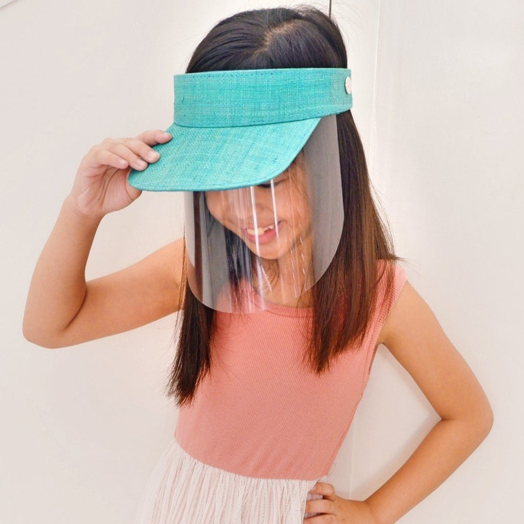 Kids Raffia Visor + Face Shield (Turquoise Blue) - Island Girl