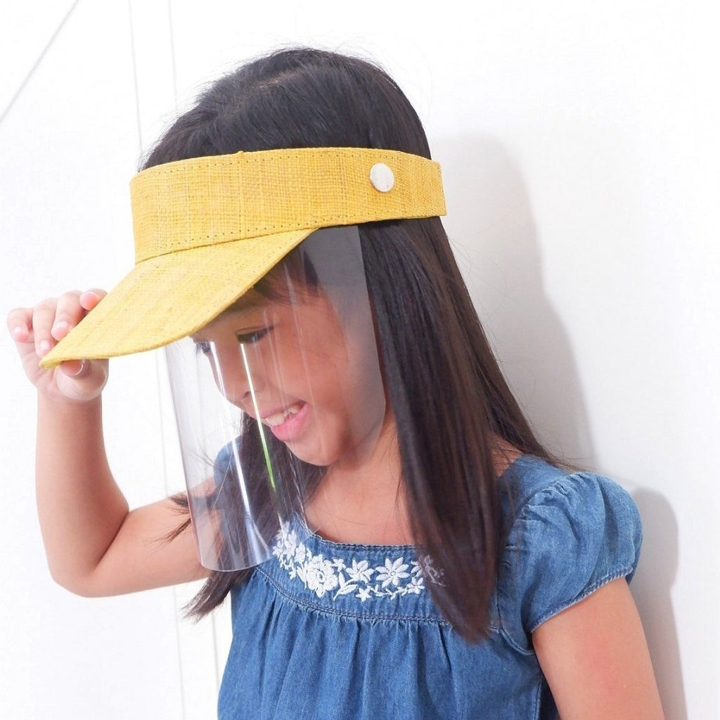 Kids Raffia Visor + Face Shield ( Yellow) - Island Girl