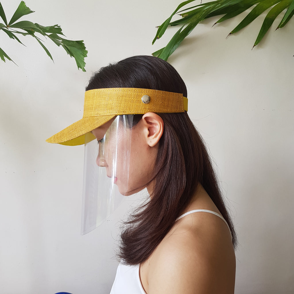 Raffia Visor + Face Shield (Mustard) - Island Girl
