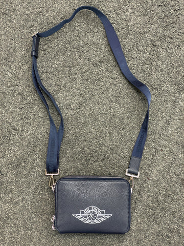 Dior x Jordan Wings Messenger Bag Navy in Calfskin with Silver-tone