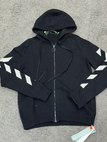 Off-White Diagonal Line Zipped Knitted Hoodie Black