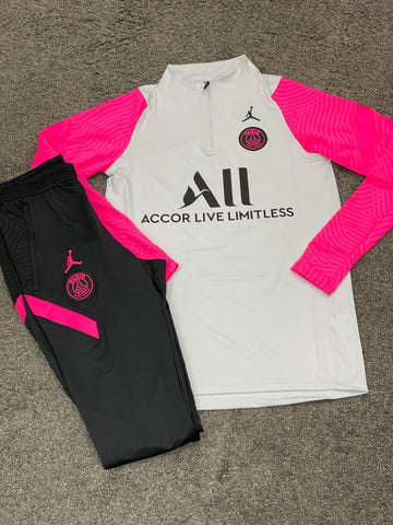 Air Jordan x PSG Football Tracksuit White Pink Black