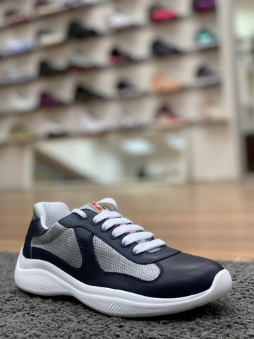 Prada Leather & Technical Fabric Sneaker Navy