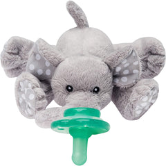 NOOKUMS PACI-PLUSHIES BUDDIES - ELEPHANT PACIFIER HOLDER - PLUSH TOY INCLUDES DETACHABLE PACIFIER