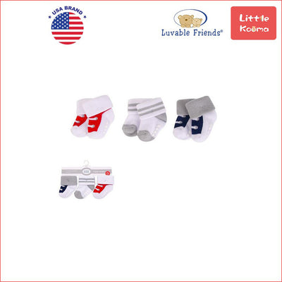 New Born Baby Terry Socks 3 Pack 00934CH Red/Navy Sneakers - Little Kooma