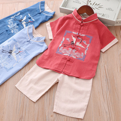 [KB08] Kids Boys Cheongsam Set Top n Shorts Embroidered Crane n Auspicious Clouds CNY Chinese New Year Outfit - Little Kooma