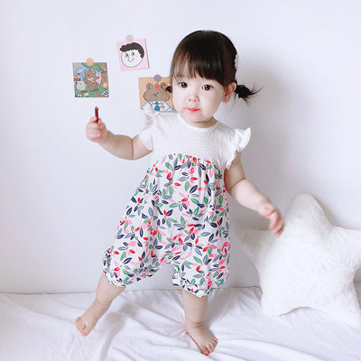 [ZBG12] Baby Girl Floral Splicing Romper Lace Ruffled Sleeves - Little Kooma
