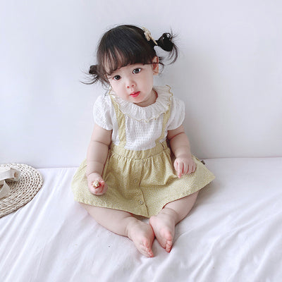 [ZBG08] Baby Girl Fake Two Piece Collar Suspender Bodysuit Dress - Little Kooma