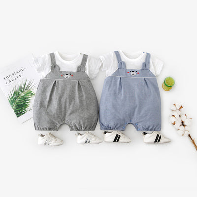 Baby Bear Fake Two Piece Romper w Suspenders - Little Kooma