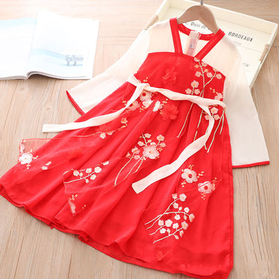 [KG17] Kids Girls Long Sleeve Voile Splicing Cheongsam Dress w Embroidered 3D Flowers CNY Chinese New Year Outfit - Little Kooma